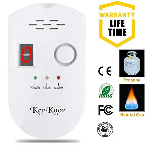 - KerKoor Gas Leak Detector-1 Natural Gas Alarm Detector For Home Gas Tester Propane Smart Gas Detector Electronic Sniffer Pen Plug-In Gas Detector For Gas Sensor Methane And Propane 5×3 in/White/1pack