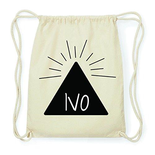 JOllify IVO Hipster Turnbeutel Tasche Rucksack aus Baumwolle - Farbe: natur Design: Pyramide