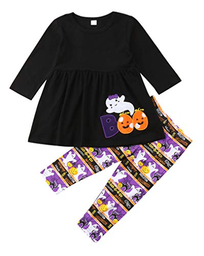 (2-7T Kids Girls Boo Halloween Theme Holiday Dress&Leggings Set Baby Girl Pumpkin Ghost Dress Tops+Long Pants Outfit (Black,)