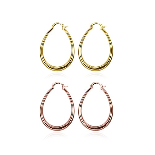 Religious Jewelry Store 14k Earrings - 40mm Teardrop Hoop Earrings 14K Gold & Rose Gold Nice Gift For Women Girls (2Pcs)