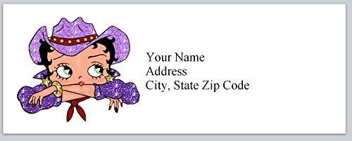 150 Personalized Return Address Labels Betty Boop Cowboy Hat (bx 298)