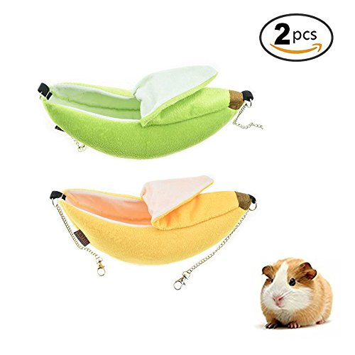 STAR-TOP Banana Hamster Bed, House Hammock Small Animal Bed House Cage Nest Hamster Accessories for Sugar Glider Hamster Small Bird Pet