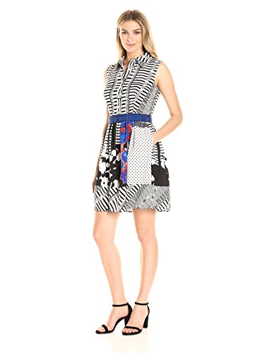 W Women's Black Shirt Sleeveless Belted Blue Stripes and Dress Polka Donna Dots Ricco White pwaq66