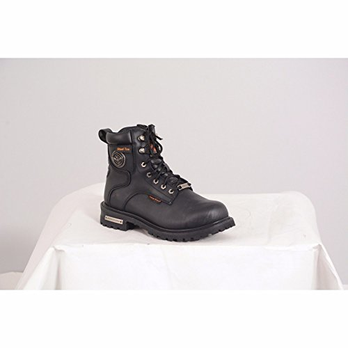 Milwaukee Mens Biker Waterproof Lace To Toe Design and Steel Toe 6 Inch Blk Leather Boot zDNoTW63