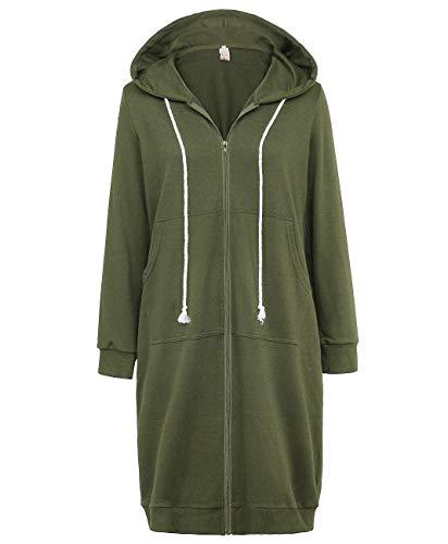 GRACE KARIN Women's Pocket Hoodies Tunic Sweatshirt Army Green Size L CL612-5 (Army Zip Hoodie)