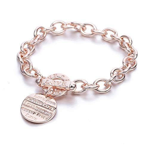 PJ Love Crystal Disk Charm Bracelets for Women Girls - Polished Link Chain Bracelet Round Charms Bangles, Trendy Costume Jewelry