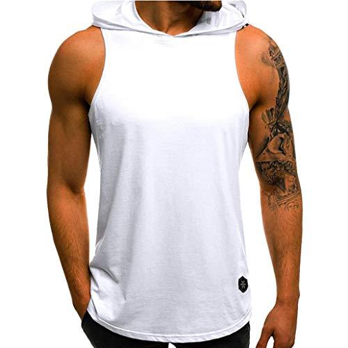 YOcheerful Men Vest Hoody Hood Sleeveless Tank Top Summer Sportswear Zip Tunic (White,L)