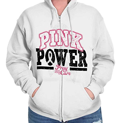 Classic Teaze Pink Power Breast Cancer Awareness Cure Zip Hoodie