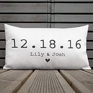 Jeartyca Regalo para esposa, regalo para marido, almohada personalizada, almohada para recámara, almohada romántica, almohada para aniversario, fecha