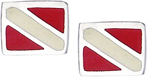 Jewelry Trends Scuba Diver Down Enameled Flag Stud Post Sterling Silver Earrings