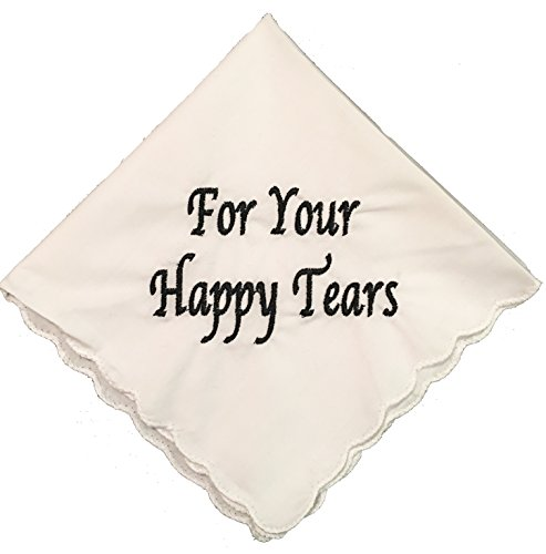 For Your Happy Tears Wedding Handkerchief Embroidered with Black Thread by Wedding Tokens ()