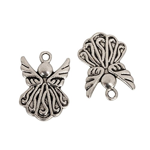 (20 x Beautiful Angel Charms 21x15mm Antique Silver Tone #mcz1201)