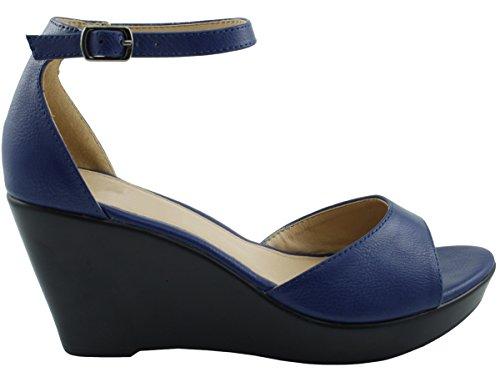 Cambridge Selezionare Donna Open Toe Alla Caviglia Strappy Piattaforma Zeppa Sandalo Blu Royal
