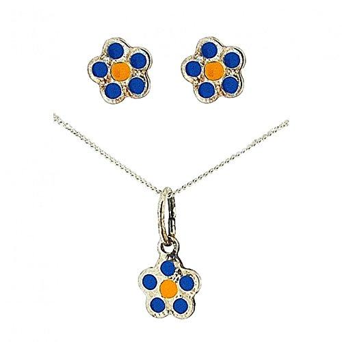 Ensemble pendentif Pour Filles Fleur Bleu Argent Sterling Avec Chaîne & Boucle d'oreilles Par La Collection Olivia - CL4035