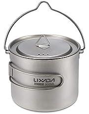 Lixada Titanium Cup Tragbare Wasser Tasse Becher für Camping Picknick mit Faltbaren Griff 300 ml / 350 ml / 550 ml / 650 ml