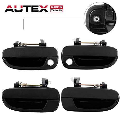 AUTEX 4pcs Black Exterior Door Handle (Front Rear Left Right) Driver + Passenger Side Compatible with Hyundai Accent 2000 2001 2002 2003 2004 2005 2006 80684 80683 80686 80685 8265025000 8266025000