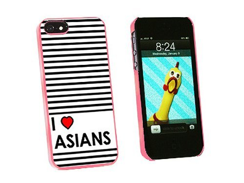 Graphics and More I Love Heart Asians Snap-On Hard Protective Case for iPhone 5/5s - Non-Retail Packaging - Pink