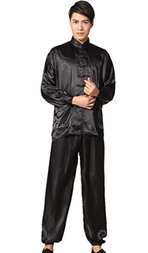 Shanghai Story Men's Chinese Wushu Suit Kung Fu Suit Tai Chi Uniform L Black