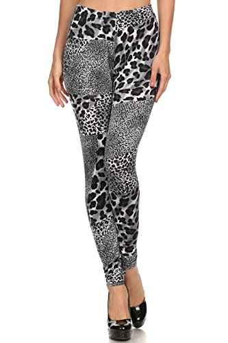 ICONOFLASH Women's Velour Full Length Cold Weather Legging, (Snow Leopard, One Size)