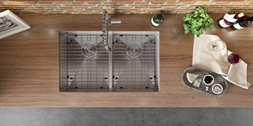 Kitchen Ruvati 30-inch Low-Divide Undermount Tight Radius 50/50 Double Bowl 16 Gauge Stainless Steel Kitchen Sink – RVH7355 modern kitchen sinks