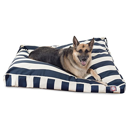 Navy Blue Vertical Stripe Extra Large Rectangle Indoor Outdoor Pet Dog Bed With Removable Washable Cover By Majestic Pet Products