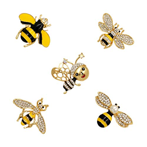 WeimanJewelry Gold Tone 5pcs Mixed Design Enamel Crystal Rhinestones Honeybee Bee Animal Brooch Pin Set for Women