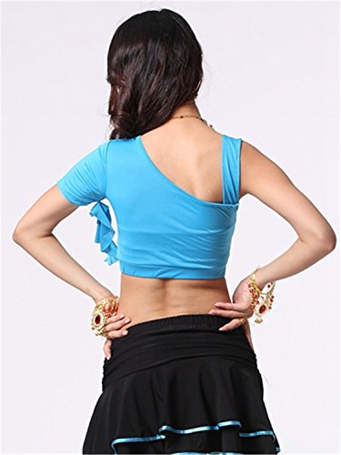 Danza del vientre Disfraz Set Exotic Sling Shoulder Top+Crystal Cotton Pantalones Light Blue