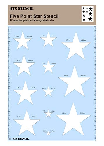 (Star Stencil Template, Made of Hard Plastic, Built in Ruler, Great for Flags and Various Craft Projects)