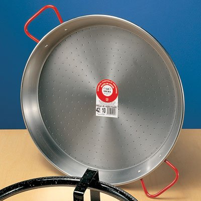 Traditional Polished Steel Paella Pan - 28 inch/ 70 cm by La Ideal