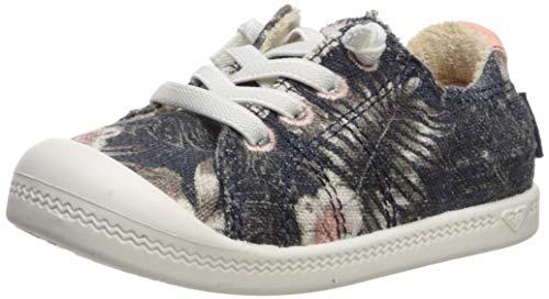 (Roxy Girls' TW Bayshore Slip On Sneaker Shoe, Blue Radiance, 8 M M US Toddler)