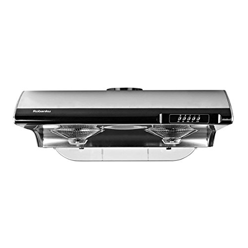 Robanku 30″ Under Cabinet Range Hood, 860FCM Stainless Steel Wall-Mounted Kitchen Range Hood Vent Cooking Fan with dual lamp and Soft Touch Control (Black)