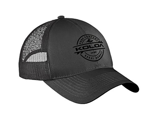 Logo Trucker Cap - Joe's USA Koloa Surf Thruster Logo Old School Curved Bill Mesh Snapback Hat-Charcoal/b