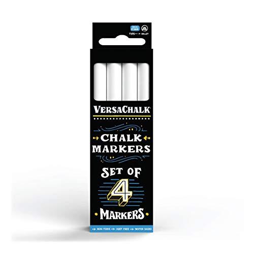 White Liquid Chalk Markers by VersaChalk - For Chalkboard Signs, Blackboards, Glass, Windows (Fine 4 pack)