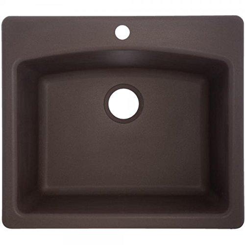 Franke ESDB25229-1 Dual Mount Granite Single Bowl Kitchen Sink, Mocha, 25-in x 22-in x 9 in deep,