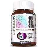 LIFEED5 Cápsulas con Biotina, Colágeno, Vitamina E, Vitamina B5 y Zinc- Los 5 Mejores Ingredientes para el cabello, piel y uñas. 60 Capsulas