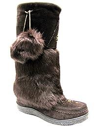 Women's Mukluk with Real Rabbit Fur