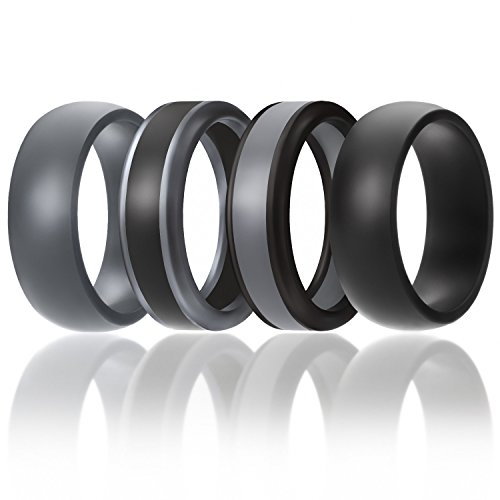 SOLEED Silicone Wedding Ring For Men, Rings (Power X Series), 4 Pack Silicone Rubber Wedding Band, Black, Grey - size 14