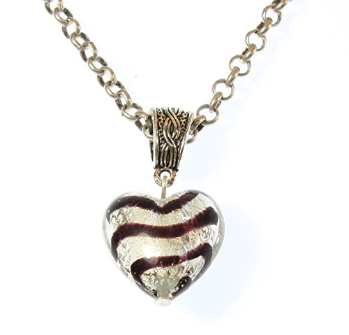 (Style-ARThouse Hershey Heart Murano Glass Brown Striped Heart Necklace, 20 Inch Adjustable Silvertone Chain)