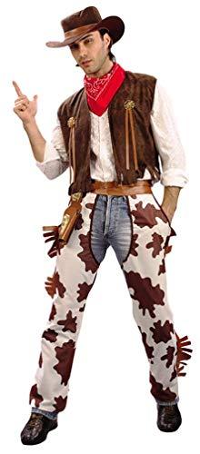 Men's Cowboy Adult Costume Set - Halloween - Vest | Chaps | Hat | Neckechief