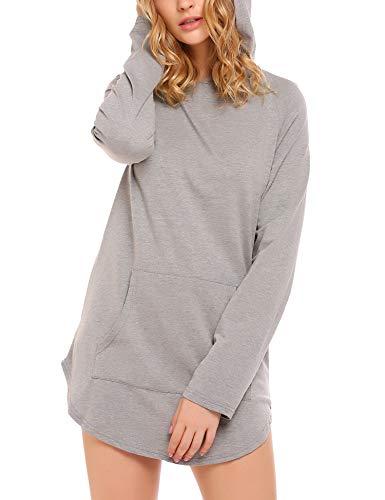 Zeagoo Women's Classic Solid Color Long Sleeve Tunic Hoodie Sweatshirt Grey - Hoodie Tunic