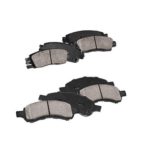 FRONT + REAR Performance Grade Quiet Low Dust [8] Ceramic Brake Pads + Dual Layer Rubber (Denali Brake Pad)