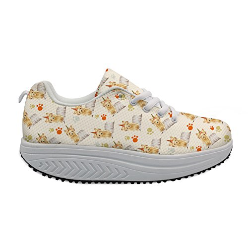 FOR Platform Fitness Strength Pug U DESIGNS Yellow Printing Shoes Cartoon Women's Sneaker Walking Pug TxT80nqzr