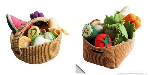 Ikea Duktig Children's 9 Piece Fruit Basket Set and 14 Piece Vegetable Set...