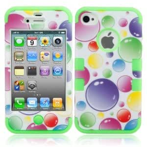 3-in-1 Colorized Bubbles Pattern Silicone Protective Case for iPhone 4/4S Green