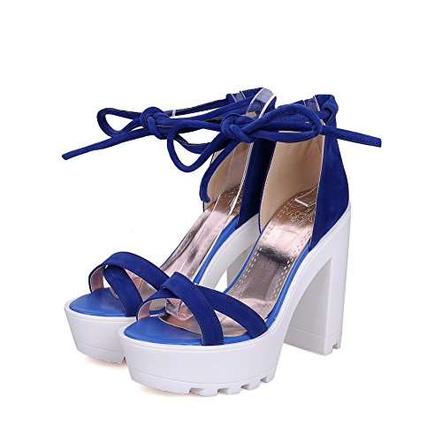 AgooLar Women's Open Toe High Heels Lace Up Solid Sandals Darkblue HGiav
