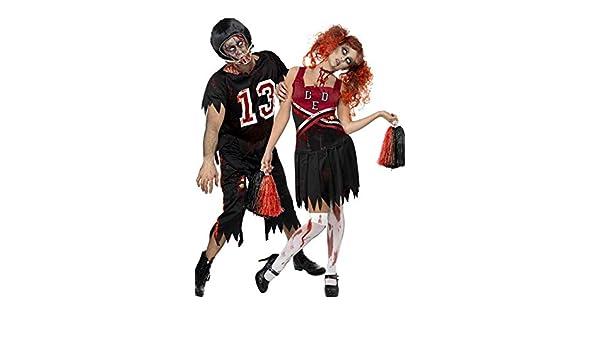 Couples Ladies Mens Zombie Cheerleader Footballer Halloween Fancy Dress Costumes