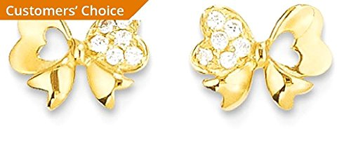 ICE CARATS 14k Yellow Gold Cubic Zirconia Cz Bow Post Stud Earrings Fine Jewelry Gift Set For Women Heart by ICE CARATS (Image #3)
