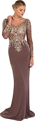 Elizabeth K Long Sleeve Jeweled Jersey Gown GL1502 (Mocha, (Brown Jeweled Dress)