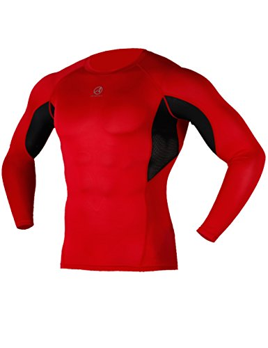 ARMEDES Men's Compression Premium Cool Dry Body Shaper Tight Mesh Long Sleeve T-Shirt RED,S