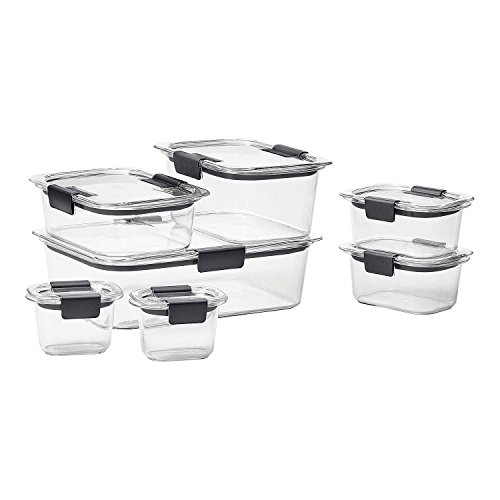 Rubbermaid Brilliance Food Storage Container, BPA-free Plastic, Mini, 0.5 Cup, 4-Piece, Clear